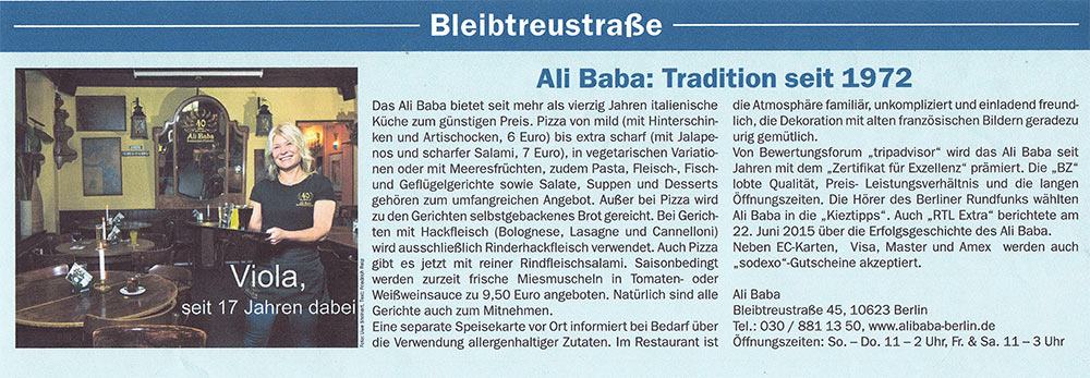 Ali Baba: Tradition seit 1972
